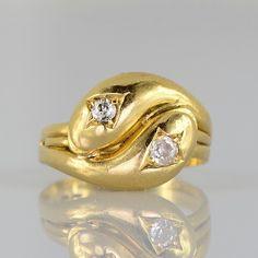 Victorian treasure. Diamond double head snake ring. Romantic by AntiqueVelvetGloves on Etsy https://www.etsy.com/listing/209678840/victorian-treasure-diamond-double-head
