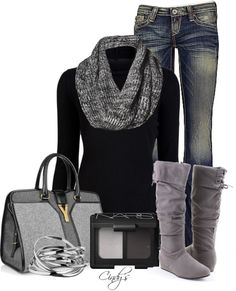black thermal with gray scarf and boots LOVE ! not really a scarf person, but it could work for me.
