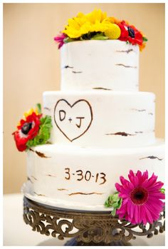 "Aspen Tree wedding cake, couple initials and date of the wedding ""engraved"" on cake."