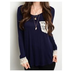 ✨ARRIVING SOON✨Navy Blue Girly Top ✨Comes in sizes Small, Medium & Large! Please comment below which size you would like and I can make a seperate listing for you or purchase from the different sized listings✨ Beautiful Navy blue long sleeve top with off white accents on the end of the sleeves and pocket. Brand new without tags and straight from vendor. 96% Rayon 4% Spandex •No Damages•No Trades•No PayPal• Tops Tees - Long Sleeve