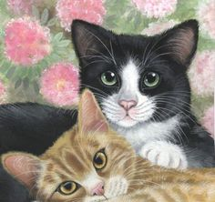 Cats-Tuxedo-Ginger-Limited-Edition-Print-from-Original-Painting-by-S-Barratt