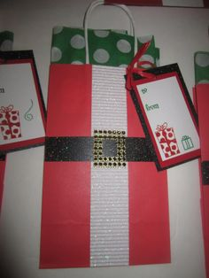 Santa bag, complete with tissue paper and handmade tag.