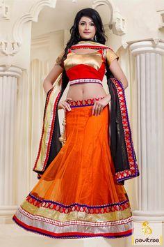 #Orange, Red with Black #Lehenga Cholis