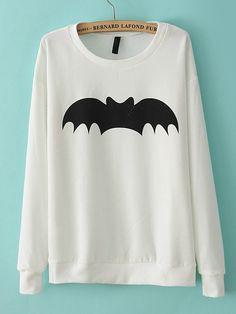 White Long Sleeve Bat Print Loose Sweatshirt - Sheinside.com