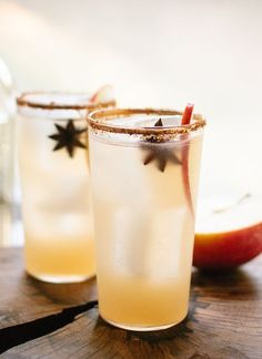 Simple apple margaritas with spiced sugar and salt rims! These cocktails would go over great at holiday fiestas and Mexican-themed dinners.