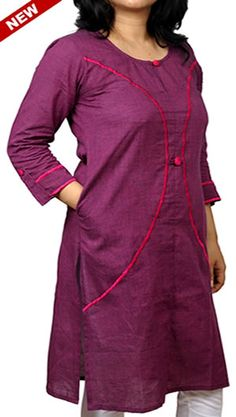 Purple Embroidered Button Loop Corporate Kurta