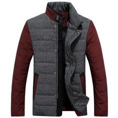 Gender: Men Outerwear Type: Down & Parkas Cuff Style: Conventional Clothing Length: Regular Filling: White duck down Closure Type: Zipper Fabric Type: Broadcloth Hooded: No Down Content: 90% Collar: T