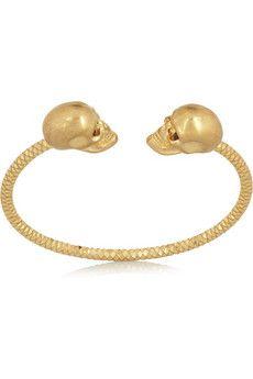 Alexander McQueen Gold-tone Swarovski crystal skull bracelet  | NET-A-PORTER