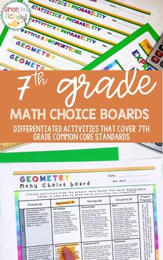 These 7th grade math common core resources are a great way to provide student choice while addressing important middle school math concepts like geometry, statistics and probability, ratios and proportions, and expressions and equations.. It includes 7th grade math projects that can be used for distance learning, or while teaching math in your 7th grade classroom.#middleschoolmath #7thgradecommoncore #commoncoremath #commoncoreresources #mathresources