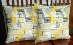 Decorative Accent Pillow Covers- Two 18 Inch - Yellow, Black and Grey. $29.99, via Etsy.
