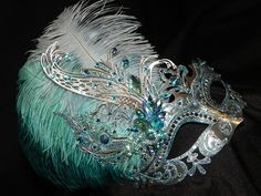 silver and turqouise masquerade masks | Turquoise Light Blue and Silver Metallic by TheCraftyChemist07