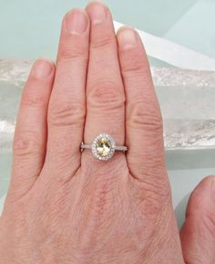 Champagne Yellow Sapphire Diamond Halo Engagement Ring in 14k White Gold Weddings Yellow Diamond Alternative $1,168.90 CAD
