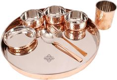 Buy IndianArtVilla Stainless Steel & Copper Traditional Kitchen Dinner Set of 8 Piece 1 Plate Thali 1 Puding Plate 3 Bowls 1 Spoon 1 Glass 1 Fork Special Thali Plate For Home Decorative Restaurant Ware Hotel Home Gift Online at Low Prices in India - Amazon.in