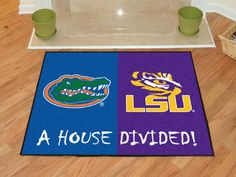 NCAA Officially licensed House Divided: Florida / LSU House Divided Mat Show everyone that your house is divided by die-hard fans of these two ri Florida Vs Lsu, Rugs And Mats, Nylon Carpet, House Divided, Time Shop, Large Area Rugs, Floor Mats, Divider, Recycling