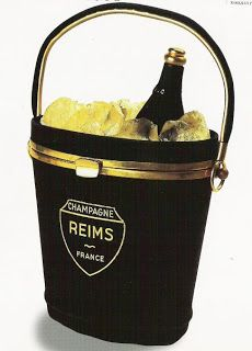 Vintage champagne-bucket evening  bag in black suede by Anne Marie of France, mid 1940's.