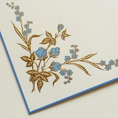 Engraved Forget-me-Not correspondence cards with edged envelopes from grosvenostationerycompany.com