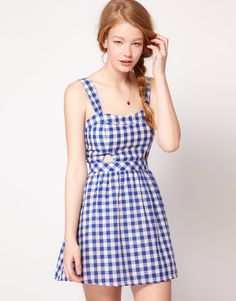 Dahlia Gingham Sun Dress With Cut-Out Detail