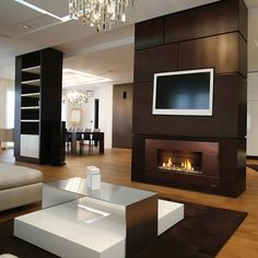 Escea Indoor Direct Vent Fireplace With Stainless Steel Ferro Fascia Wall Setting Bedroom Fireplace, Fireplace Wall, Fireplace Surrounds, Fireplace Design, Fireplace Ideas, Indoor Gas Fireplace, Linear Fireplace, Modern Fireplace, Gas Fireplaces