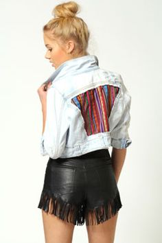 #denimdaze #boohoo  Just the Lavine Crop Denim Jacket With Aztec Detail