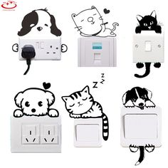 Animal Cat Diy Light Switch Sticker Wall Removable Wall Stickers Vinyl Decals