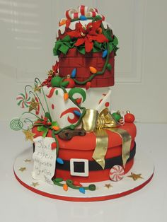 Navidadjpg on Cake Central Christmas Cake Designs, Christmas Cake Topper, Christmas Cupcakes, Christmas Sweets, Christmas Baking, Christmas Place, Merry Christmas, Fancy Cakes, Cute Cakes
