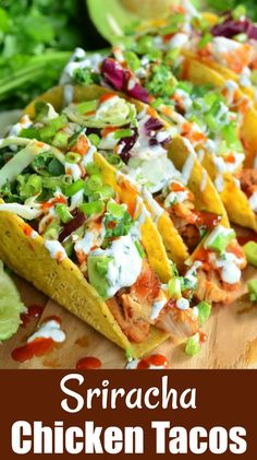 Sweet and Spicy Sriracha Chicken Tacos - all thing recipes Buffalo Chicken Tacos, Sweet And Spicy Chicken, Sriracha Chicken, Grilled Chicken, Mexican Food Recipes, Dinner Recipes, Healthy Recipes, Simple Recipes, Spicy Recipes