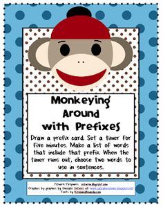 Monkeying Around with Prefixes - Freebie Is there anything cuter than sock monkeys? I think I'll add some to my reading corner as reading buddies this year.