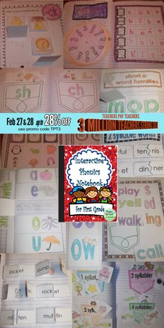 Interactive Phonics Notebook $ save 28% Feb. 27-28 with promo code TPT3