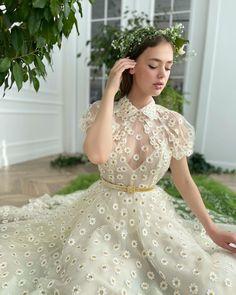 Whimsical Fashion, V Neck Tank Top, Tea Length, Bodice, Daisy, Flower Girl Dresses, Gowns, Tank Tops, Elegant
