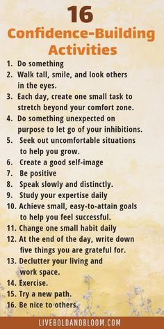 16 confidence-building activities to improve . - 16 confidence-building activities to improve … – - Confidence Building Activities, Building Self Confidence, How To Build Confidence, Building Self Esteem, Confidence Building Exercises, Affirmations Positives, Self Esteem Affirmations, Self Care Activities, Daily Activities