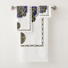 Asian Art Deco Traditional Jeweled Bath Towel Set - fancy gifts cool gift ideas unique special diy customize