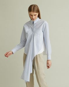 Long sleeve shirt with double layer effect and kerchief front detail. Blue stripe body White back and under layer Covered button placket Bias-cut kerchief front and single sleeve cotton Model is 180 ft 11 in and is wearing a size 38 Retail Concepts, Kerchief, White Bodies, Cool Suits, Designing Women, Poplin, Blue Stripes, Long Sleeve Shirts