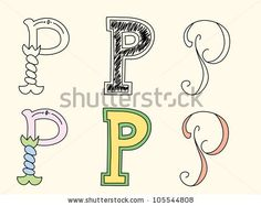 Doodle hand drawn alphabet in pastel tints : letter P by Radiocat, via ShutterStock