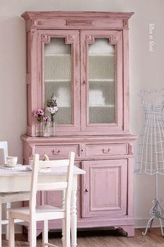 Paink Painted China Cabinet
