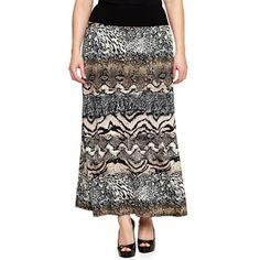 Blu Sage Wide Waistband Print Knit Skirt - Plus - jcpenney