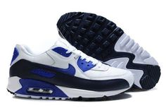 Nike Air Max 90 Mens White Royal Obsidian Trainers UK