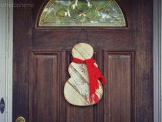 Rustic Wood Snowman Door Hanger w/ knit scarf- reclaimed pallet wood,  #etsy #homedecor #christmas