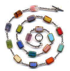 Multi Color Necklace Multi Color Unique Czech Beads by Annaart72