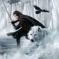 A Song Of Ice And Fire - 2012 Calendar - February - Jon Snow and Ghost - a-song-of-ice-and-fire photo