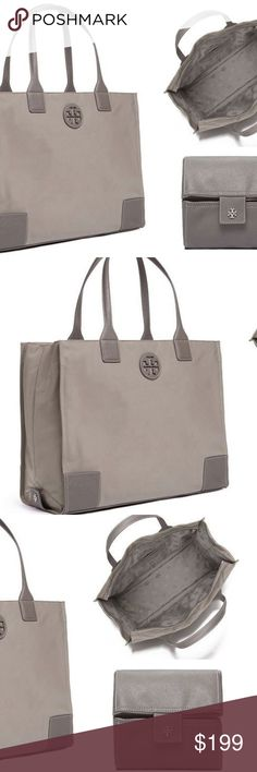 065c620606c Tory Burch Foldable Packable Nylon Ella Tote Gray Guaranteed 100% Authentic  TORY BURCH New with