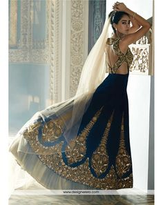 Say who you're without speaking a thing with this navy blue velvet lehenga. Featuring intricate stone, zircon, zari and kundan work, this lehenga is perfect for that dreamy bridal look. Indian Attire, Indian Wear, Indian Style, Moda India, Style Indien, Desi Clothes, Indian Clothes, Indian Couture, Indian Designer Wear
