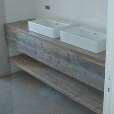 Badkamermeubel steigerhout gebruikt Rawcreations.be
