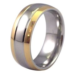 Gold Tone Edge Ring Stainless Steel Wedding Band or everyday fashion ring made from hypoallergenic 316L surgical stainless steel. Our rings are guaranteed not to cause an allergic reaction individuals experience with silver, gold or base metal jewelry. The design has high polished silver in color stainless steel finish in the center with durable gold tone PVD (IP) on the outer edges. 8mm wide comfort fit inner band. Available in size 5, 6, 6.5, 7.5, 8, 11, 12, 13, 14, 15.