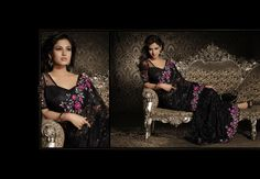 $344.38 Sonal Chauhan Black Resham and Stone Work Party Wear Saree 22888