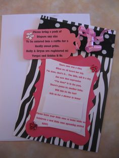 Pink and Black zebra print baby shower invitations