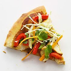 Thai Pizza Peanut sauce, grilled chicken, and red bell pepper; top ...
