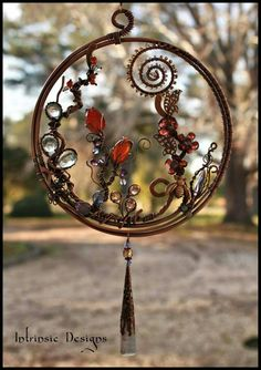 Wire Wrapped Fine Gemstone and Crystal Garden Suncatcher in Wire Wrapped Jewelry, Wire Jewelry, Jewelry Art, Jewellery, Sun Catcher, Wire Crafts, Jewelry Crafts, Cd Crafts, Wire Trees