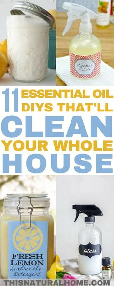 Essential Oil DIYs That'll Clean Your Whole House Skip the unknown fragrances in cleaning products and use these DIY cleaning products scented with essential oils. Good for your house and good for your family. Natural Cleaning Recipes, Homemade Cleaning Products, Natural Cleaning Products, Diy Products, Natural Products, Household Cleaning Products, Green Products, Vegan Products, Health Products