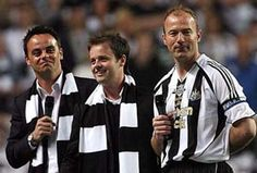 Newcastle United striker Alan Shearer with Toon fans Ant and Dec. #NUFC