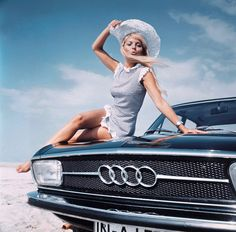Happy girl with hat in promo picture for Audi, late 60's - very cool picture!